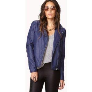 Blue Vegan Leather Moto Jacket